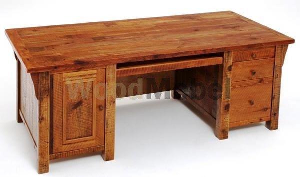 Barnwood Furniture Desk 3 Drawers One Door - Письменные столы из дерева на заказ