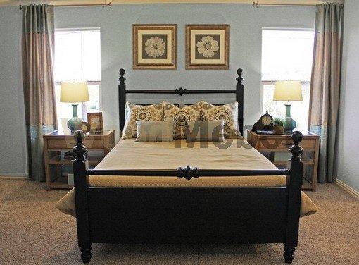 Dark Wooden Beds in Soft Blue Bedroom - Кровати из дерева на заказ Киев