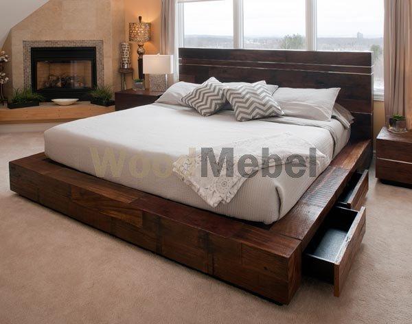 EVOKE reclaimed wood platform bed - Кровати из дерева на заказ Киев