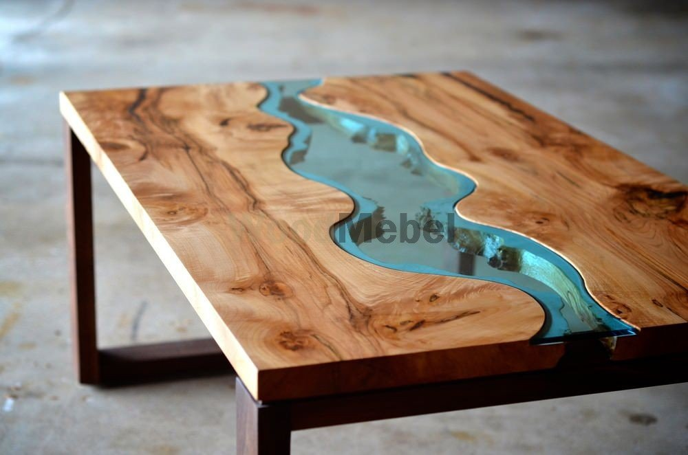 Irregular wood and glass river coffee table - Столы из дерева под заказ