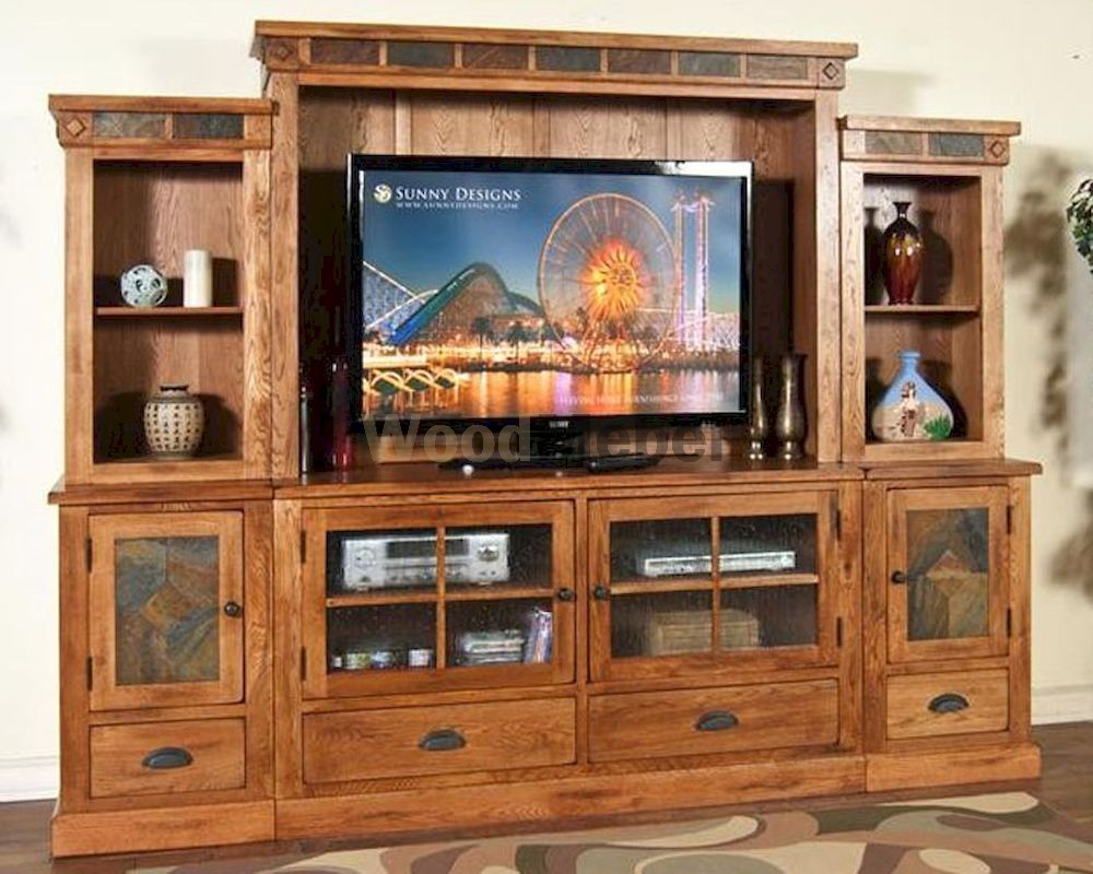 sunny designs sedona entertainment wall su 3439ro 20 - Гостиные из дерева