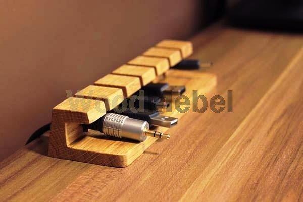 the handmade wooden desk cable organizer 1 - Письменные столы из дерева на заказ