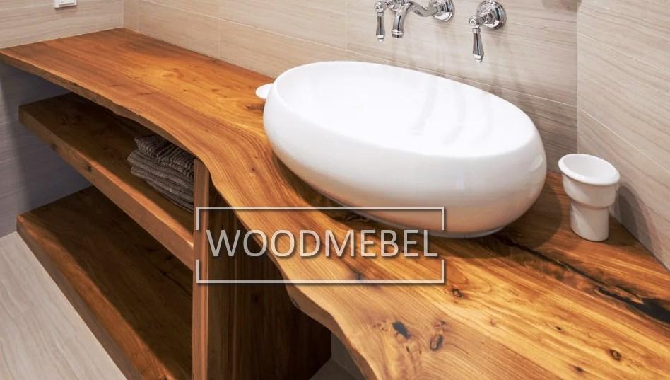 Консоль из дерева в ванную на заказ